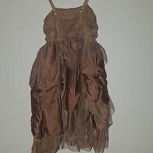 Weissman Dresses - Brown Ruffled Dress